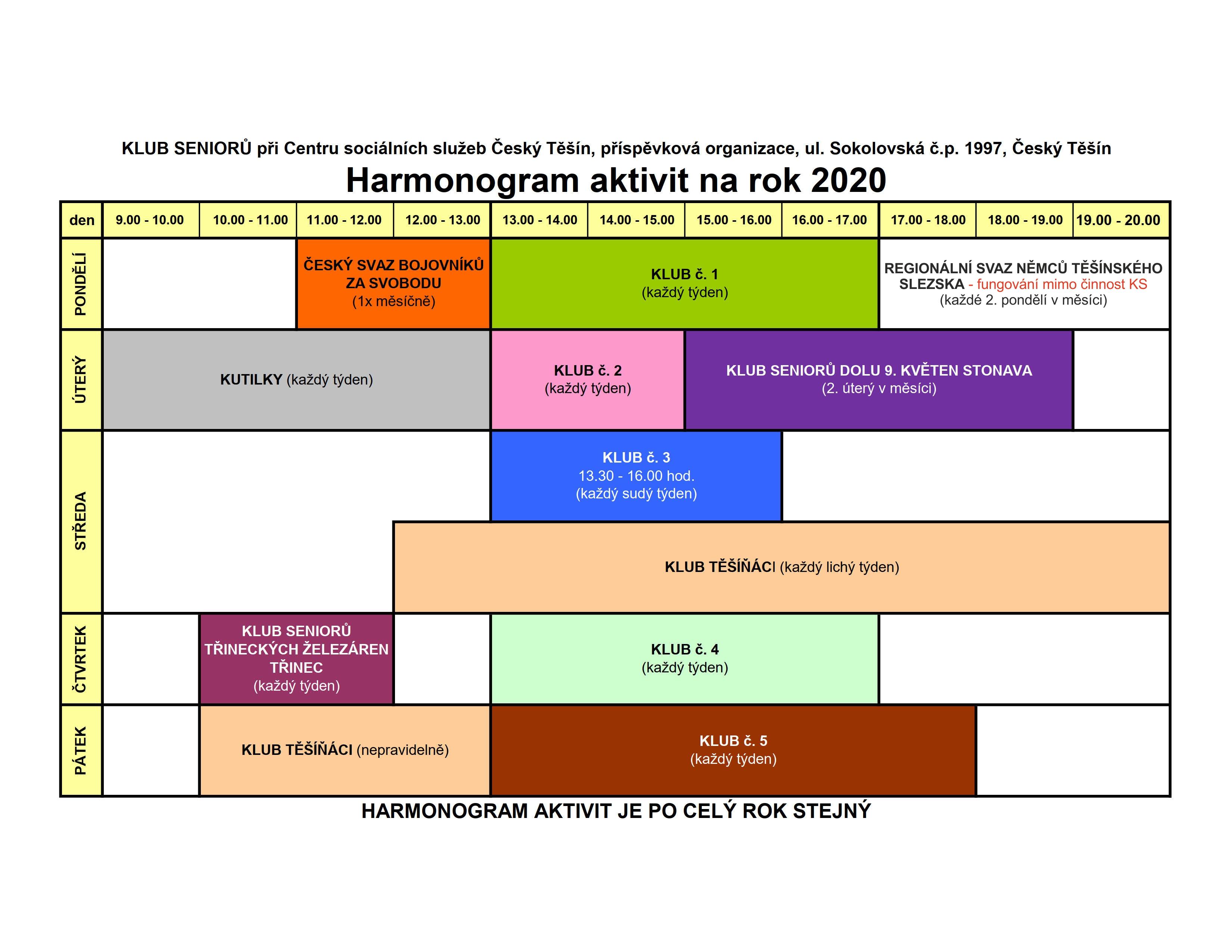 Harmonogram klubu seniorů pro rok 2021